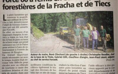 Info Travaux Septembre: Remise en état des pistes forestières de la Fracha et de Tiecs
